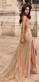 Gold Sequined Lace Off <b>Shoulder Long Sleeve</b> Sheath Prom ...