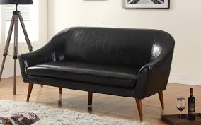 black bonded leather mid century sofa sofa mania exp52 bd 3s black leather mid century