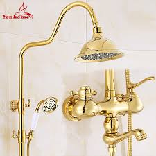 golden bathroom shower column faucet wall: luxury gold ceramics crystal retro solid brass bathroom shower set faucet wall mounted dual handle rainfall
