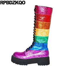 <b>Patchwork</b> Flatform Bling <b>Glitter</b> 2019 Big Size <b>Sparkly</b> Side Zip ...
