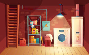 Cellar interior, <b>laundry</b> inside the basement in <b>cartoon style</b>. Vector ...