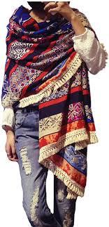 <b>Women's Boho Bohemian</b> Soft Blanket Oversized Fringed <b>Scarf</b> ...