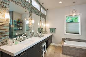 pendant modern bathroom lighting with double sink bathroom vanity and frameless mirrors also built in bathroom vanity pendant