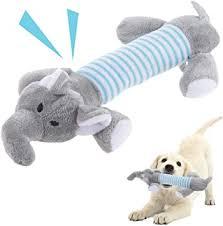 qpets® <b>pet dog puppy</b> cat play plush stripe gray elephant squeaky ...