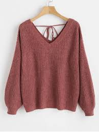 [38% OFF] [<b>HOT</b>] 2019 Drop Shoulder <b>V Neck</b> Oversized Sweater In ...