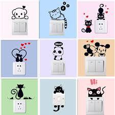<b>DIY Funny Cute</b> Sleeping Cat <b>Dog</b> Rat Mouse Switch Stickers Wall ...