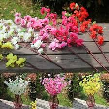 <b>65cm Artificial Cherry</b> Spring Plum Peach Blossom Branch <b>Silk</b> ...