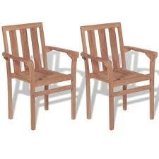 Shop vidaXL <b>Stackable Garden Chairs 2</b> pcs Solid Teak Wood ...