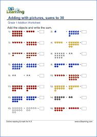 Free printable first grade math worksheets | K5 Learning... Grade 1 Math Worksheet Sample