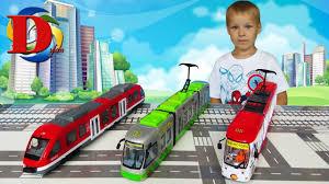 ТРАМВАЙ зеленый <b>игрушка</b> . ТРАНСПОРТ Видео для детей ...