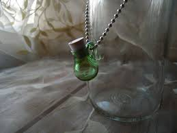 green glass vial magic potion bottle necklace essential oils ashes and more blown glass bottle pendant