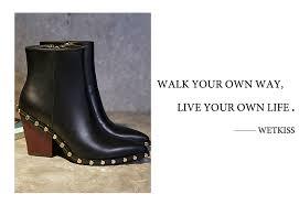 <b>WETKISS</b> Brand Genuine Leather Rivet Boots <b>Women</b> Thick High ...