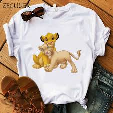 The <b>Lion</b> King Cartoon Print T Shirt Two Little <b>Lions Vogue</b> Casual ...