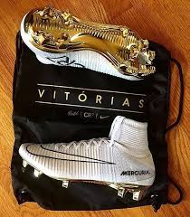 new cr7 boots gold white