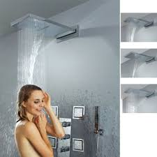 ideas shower systems pinterest: bathroom wall mounted waterfall rain shower system six body sprays shower valve generic