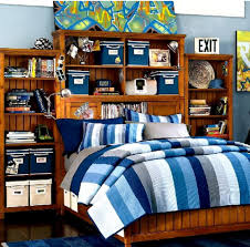 cheap kids bedroom ideas:  awesome interior design ideas for cheap kids room decor outstanding blue stripes comforter platform bed
