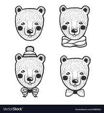 Hand drawn <b>cartoon bear</b> head <b>prints</b> set Royalty Free Vector
