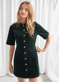 <b>Corduroy</b> Button Up Mini Dress - Dark Green - Mini dresses ...
