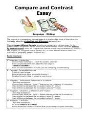 compare contrast essay format example   compareandcontrastessay  pages compare contrast essay formatdoc