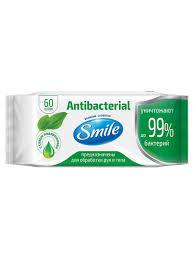 <b>Влажные салфетки</b> Antibacterial с подорожником 60 шт <b>Smile</b> ...