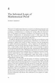 the informal logic of mathematical proof springer inside