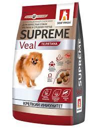 Полнорационный <b>сухой корм</b> д/собак. Supreme, Телятина 1,2 кг ...