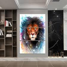 Scared King by Pixie Cold <b>3</b>-<b>Piece</b> Lion Canvas Painting - Dharma ...