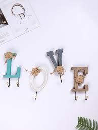 Buy 4 Pcs Decorative Wall <b>Hook</b> Pastoral Style <b>Creative</b> Letters ...