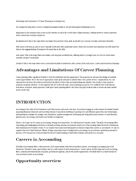 advantages and limitations of career planning accounting essay advantages and limitations of career planning accounting essay accountant accounting