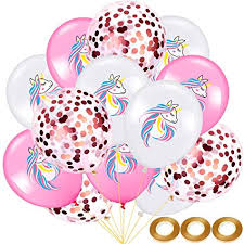 45 Pieces Unicorn Birthday Balloon Set White Pink ... - Amazon.com