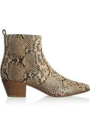 sexy snake print leather women boots ankle pointed toe metal