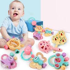 7Pcs Newborn <b>Toddler Baby</b> Shaking Bell Rattles <b>Teether Toys</b> Kids ...