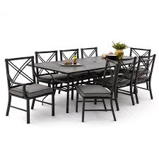 patio table and 6 chairs: audubon  piece aluminum patio dining set with  side chairs and rectangular table canvas charcoal angled view
