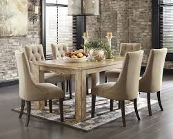 chair dining room tables rustic chairs: mestler bisque rectangular dining room table amp  light brown uph side chairs