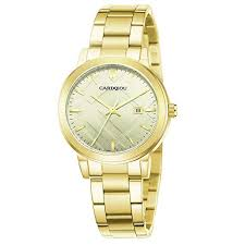 CARDQIOU <b>Women Gold Watch</b> Stainless Steel <b>Waterproof Watch</b> ...