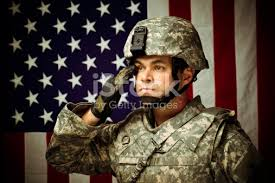 <b>Military Soldier</b> In Front Of <b>American Flag</b> stock photo 154956876 ...