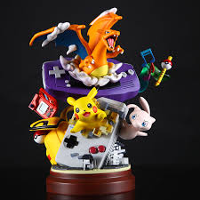 Anime Resin Statue Gameboy Pika Mewtwo Charizard Action Figure ...
