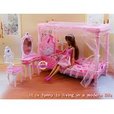 miniature furniture dreamy rose bedroom for barbie doll house classic toys for girl free shipping barbie bedroom furniture