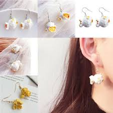 Fashion <b>Funny Popcorn Fried</b> Chicken Food Drop Earrings Women ...