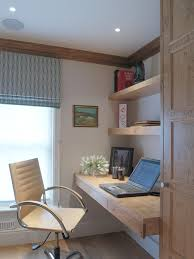 exciting built in desk plans for beach style home office also natural wooden desk and rack material also modern beige swivel chair also gray notebook also built in office desk plans