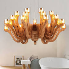 nordic loft style wood art chandelier oak wood cognac glass light pendant light fixtures living room hotel bar indoor lighting supplier art glass lighting art glass lighting fixtures