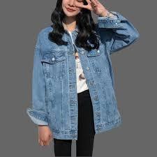 Весенне осенняя женская джинсовая <b>куртка больших размеров</b> ...