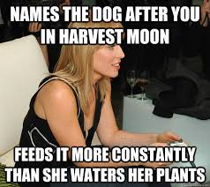 names the dog after you in Harvest Moon feeds it more constantly ... via Relatably.com