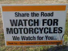 Image result for watch for bikers sign