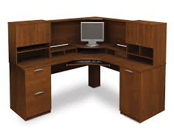 bestar elite tuscany brown corner desk with hutch and computer desk also cabinet hardware wood corner bush desk hutch office