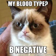 My blood type? b negative - Grumpy Cat | Meme Generator via Relatably.com