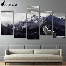 <b>HD 5 Pieces Printed</b> Snow Mountain Plateau Wolf Paintings Canvas ...