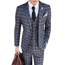 <b>2019 New Plaid</b> Men's <b>Suits</b> One Buttons Classic Checkered <b>Suit</b> ...