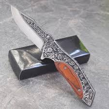 Damascus Steel 8.1'' Knives Tactical <b>high hardness folding</b> blade ...