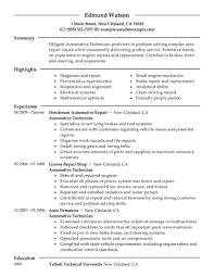automotive technician resume sample my perfect resume sample automotive technician resume